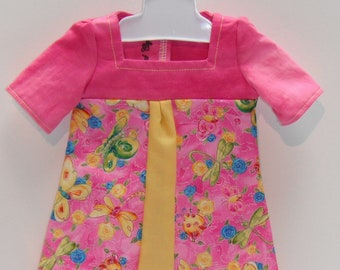 "Pink Yellow Butterflies Dragonflies Flowers Square neck & three quarter Sleeve Knee Length Dress 18"" Doll Clothes"
