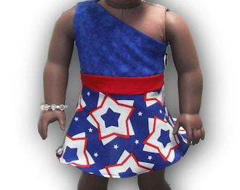 """One Shoulder Red White Blue Stars 18"""" Doll Clothes Above Knee Dress w/ Invisible side zipper"""