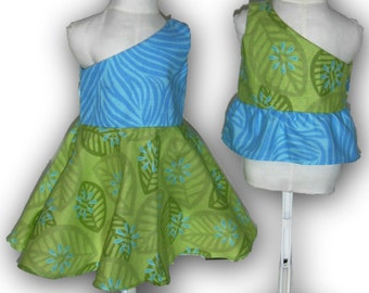 """Turquoise Lime Green One Shoulder Dress & Top 18"""" Doll 2-piece Outfit w/ Invisible side zipper"""