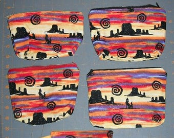 Howling Wolf & Southwestern Sunset Zippered Personal Pouches