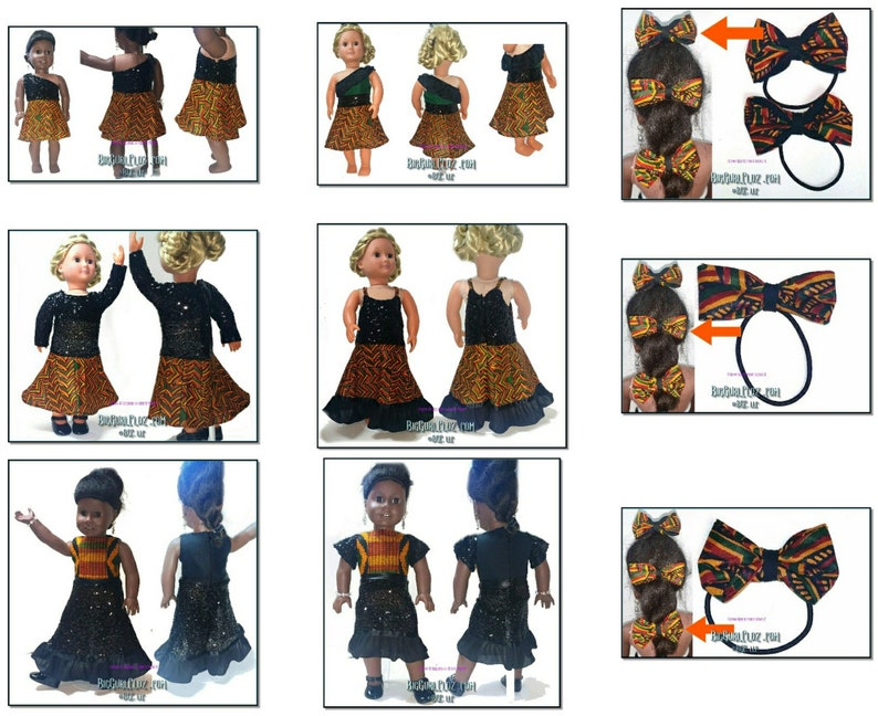 African Kente print & Sequined 18 Doll Dress image 0