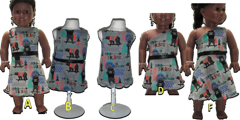 Skater Bear Dresses 18 Doll w/ Invisible side zipper image 0