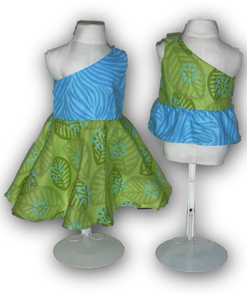 Turquoise Lime Green One Shoulder Dress & Top 18 Doll image 0