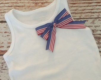 4th of July Tank - July 4th, Fourth of July - Red White and Blue - Flag - Tank, Tee, Top, Shirt - Girl, Toddler Girl, Baby Girl
