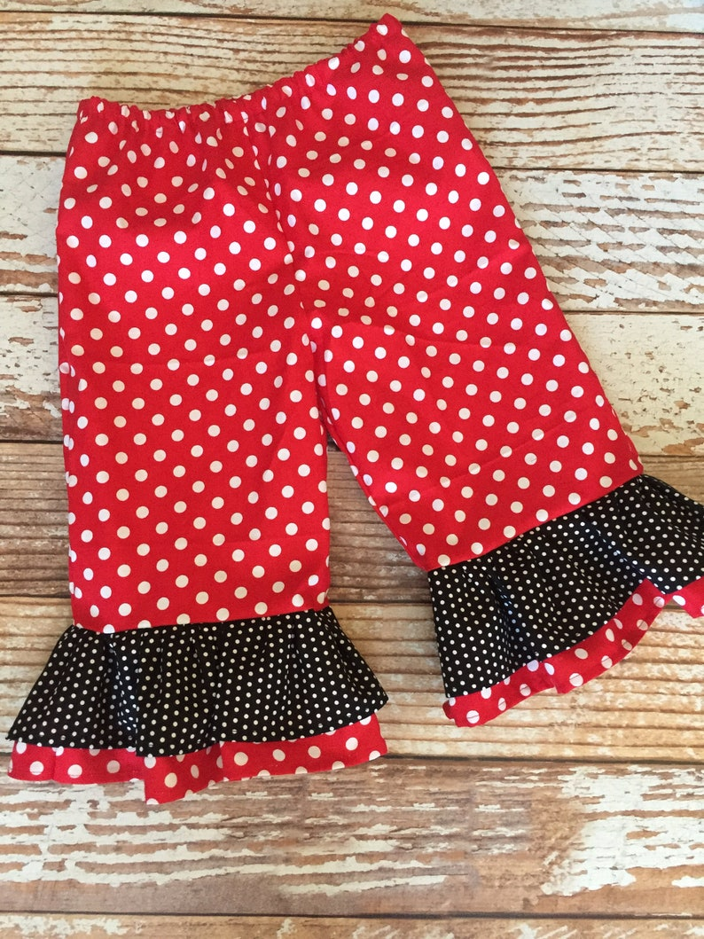 bbdf07865 Girl's Minnie Mouse Pant OR Capri Pant Ruffle Pants | Etsy