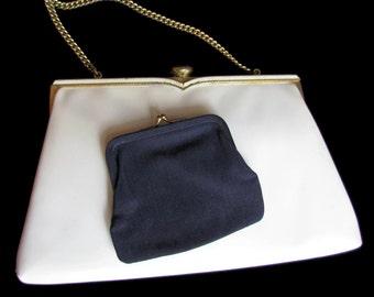 White Clutch, White Bags, French, Coblentz, Vintage Handbag, Handbag With Coin Purse, 1950s, Vinyl Bags and Purses,  Handbags For Women