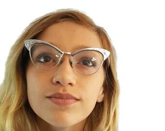 Vintage Cat Eye Glasses Frames 12K GF Silver Eyeglasses Cat Eye Frames Etched Floral Eye Glass Frames Glasses For Women Girls