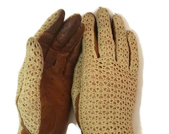 63223aa50 Leather Gloves Vintage Gloves Hand Crocheted Victorian Gloves Brown Leather  Driving Gloves Edwardian Riding Gloves