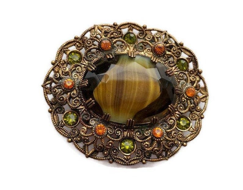 Etruscan Jewelry Rhinestone Brooch W Germany Brooch Ornate Edwardian Brooch Jewelry for Fall Brooch Pendant Vintage Brooch