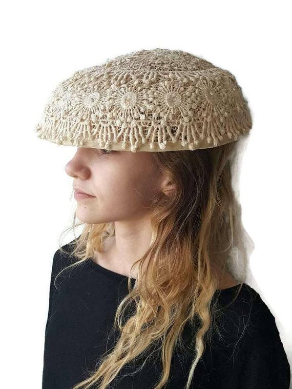 1940s Lace Platter Hat, White Victorian Hat, Vinta