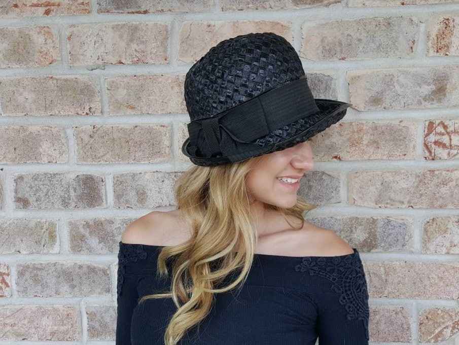df946feab708a ... Black Vintage Fedora Hat With Black Patent Leather. gallery photo  gallery photo gallery photo ...