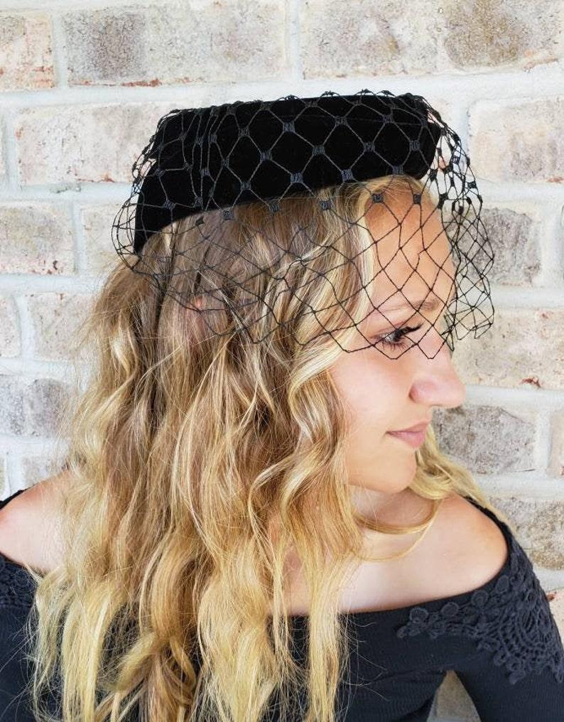 Classic Black Pillbox Hat With Veil Pillbox Fascinator Half Hat 1950 Fascinators Vintage Birdcage Black Veil Hats Pill Box Hat Church Hats