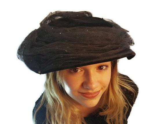 Victorian Hat, Vintage, Black, Halo, Platter Hat,