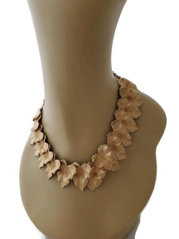 Big Bold Chunky Gold Leaf Necklace 1960s Ornate Je