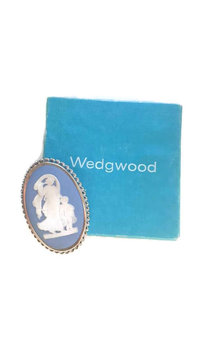 TC 63 Wedgewood Jewelry Jasper Blue Cameo Brooch Sterling Blue Cameo Cameo Jewelry With Box Cameo Pendant Wedgewood Sterling