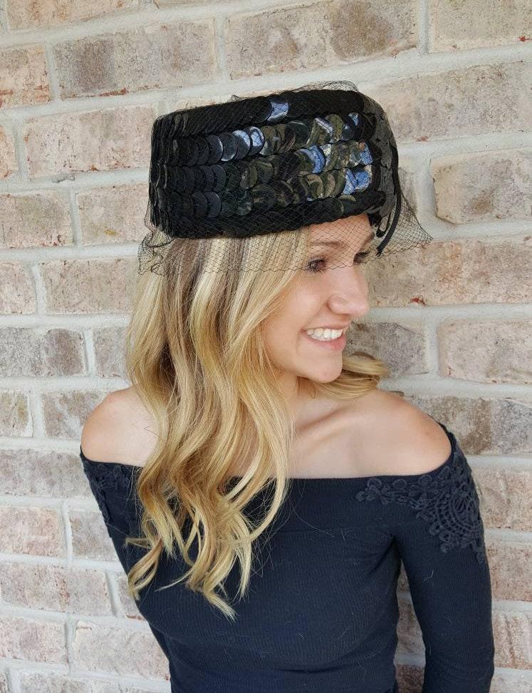 bf2d8c373d4 Vintage Black Pillbox Hat With Veil Hat