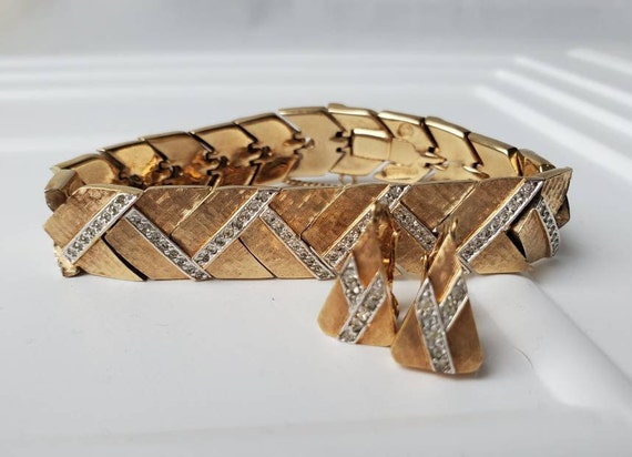 Panetta Jewelry Signed Gold Faux Diamond Bracelet