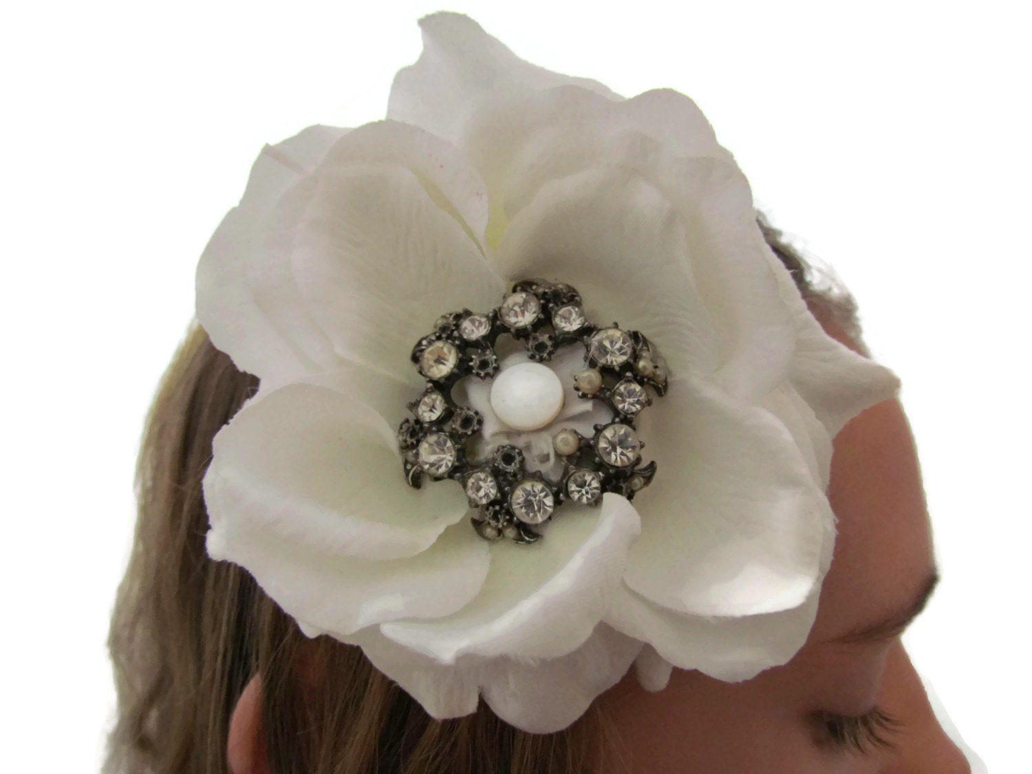 White Silk Flower Rhinestone Hair Clip Upcycled Hair Accessories