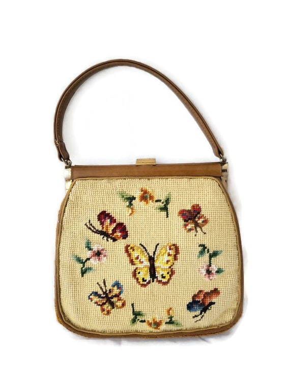 JR Florida USA Leather Tapestry Handbag Vintage, J