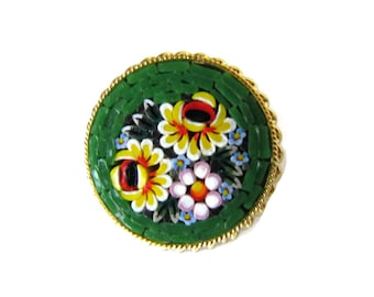 Antique Mosaic Brooch,  Pins, Flower Brooch, Micro Mosaic, Jewelry, Green, Mosaic, Italy, Vintage Jewelry, Gifts for Women, Gifts For Mom