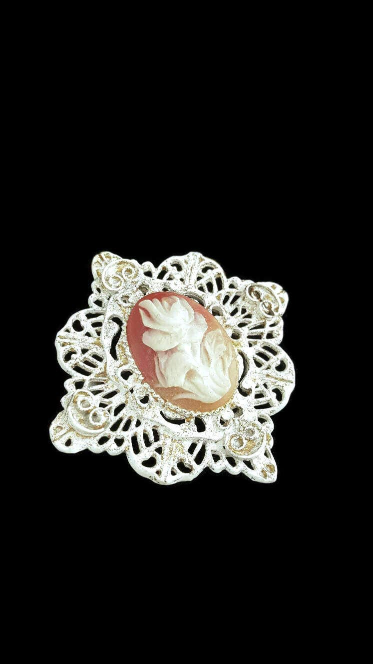 Carved Flower Brooch, Floral Jewelry, Victorian Jewelry