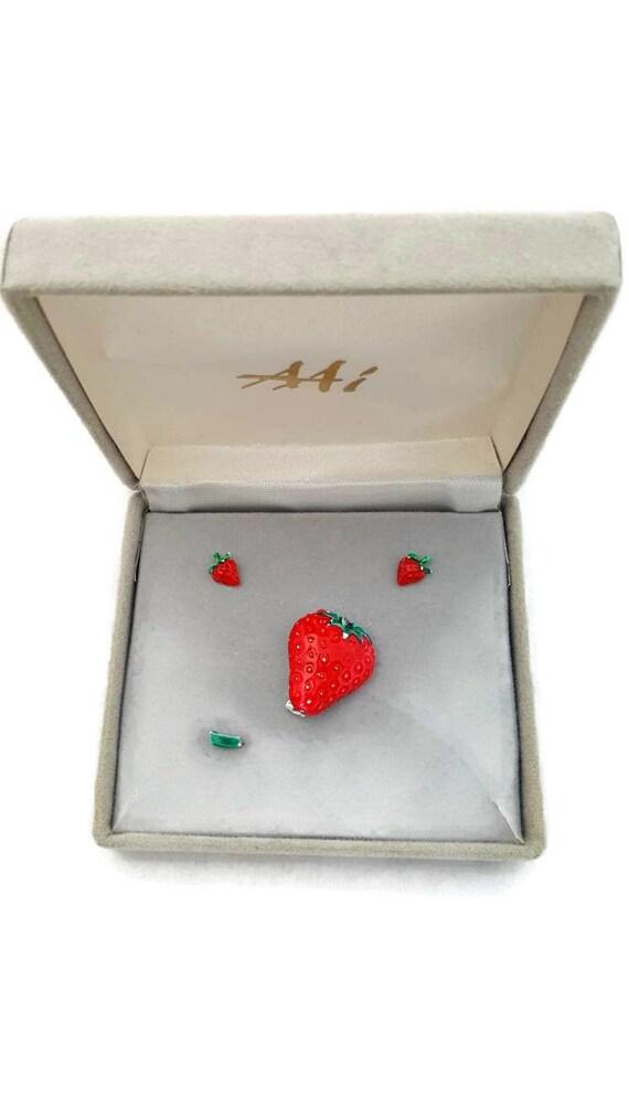 Strawberry Jewelry Set, Strawberry Earrings, Straw