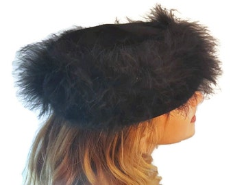 Vintage Hat, Black Feather, Pillbox Hat, 1960s Hat, Mod Hats, Fascinator, Hats, Hats For Women, Womens Hats, Vintage Hats, with Feathers