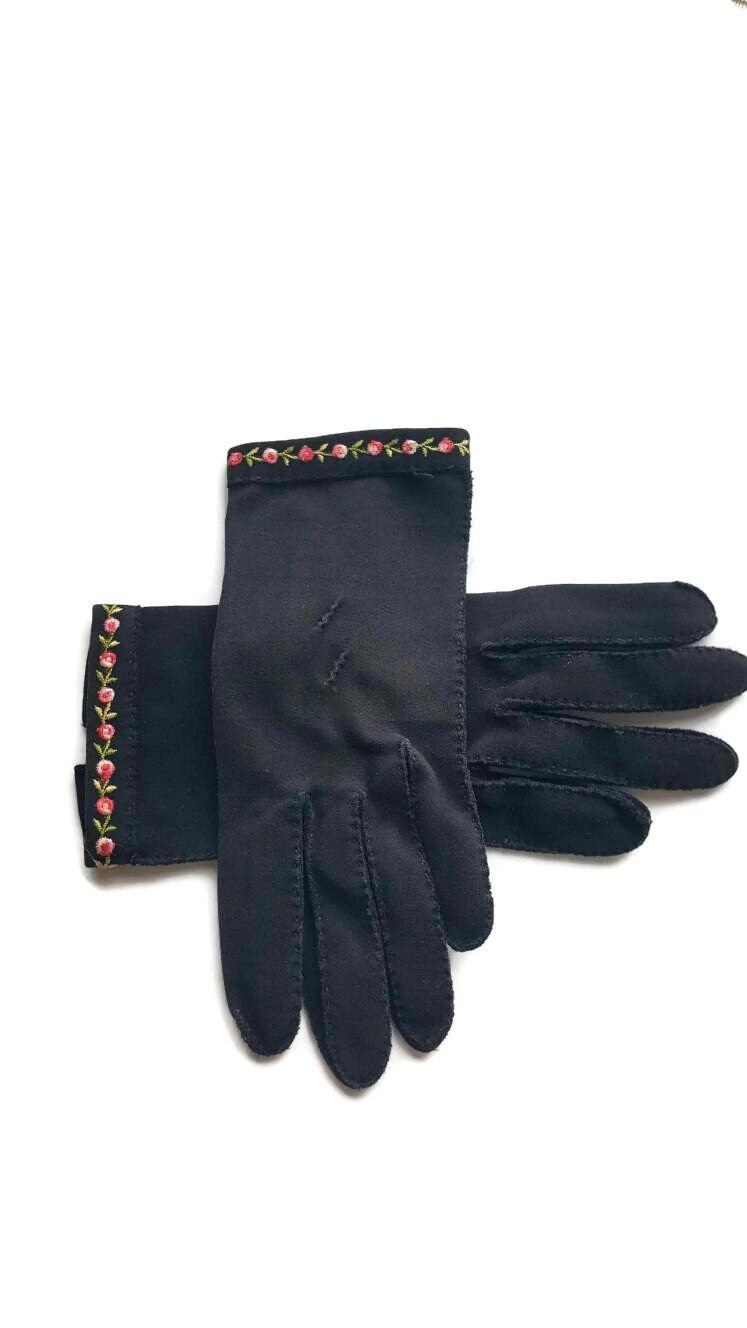 e4e3bca0c Vintage Gloves, Black Gloves, Embroidered, Nylon Gloves, Short Black Gloves,  For Women, Driving Gloves, Stretch Gloves, Womens Gloves