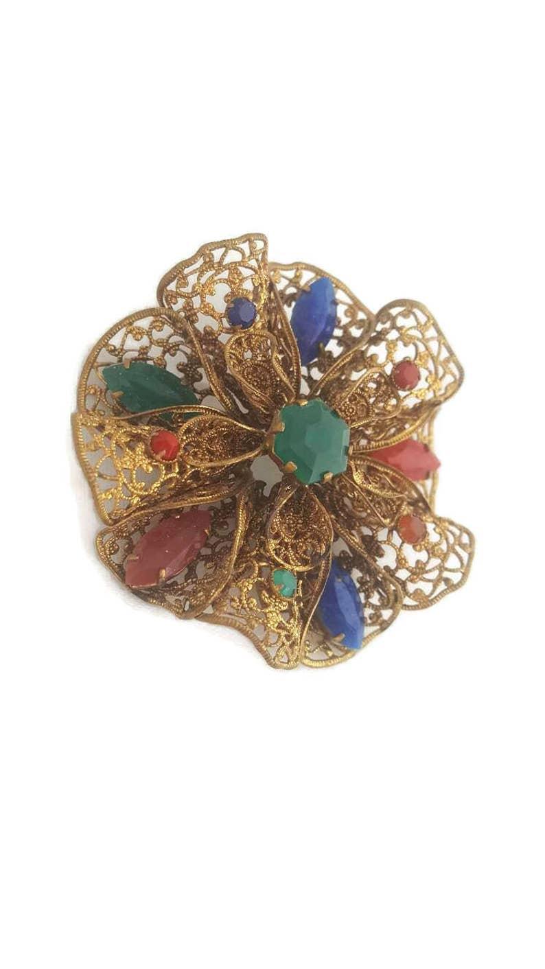 1bf5d8c3edb9a Edwardian, Brooch, Filigree, Czech Jewelry, Jewelry, Ornate Jewelry,  Vintage Brooches, Etruscan Jewelry, Colorful, Rhinestone Brooch