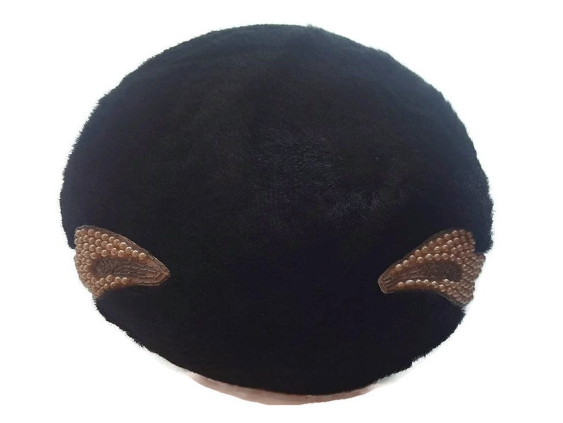 Elegant Pillbox Hats For Women or Girls Black Church Hat PIllbox Hat Beaded with Pearls Art Deco Vintage Hat 1950s 1960s hats