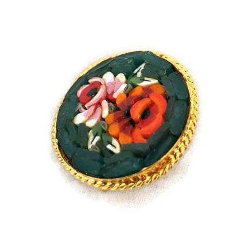 Small Antique Mosaic Pin Green with Red Roses Brooch Vintage Floral Pins Brooches