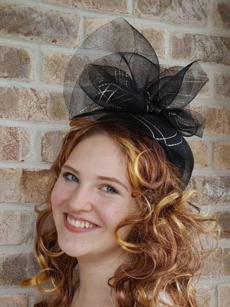 a2127add9 Black Fascinator Hat Vintage Sonni San Francisco Hat For Women, Elegant  Holiday Womens Hats, Fancy Hats
