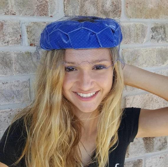 764d3c79404 Royal Blue Pillbox Fascinator Hat with Veil Blue Fascinators