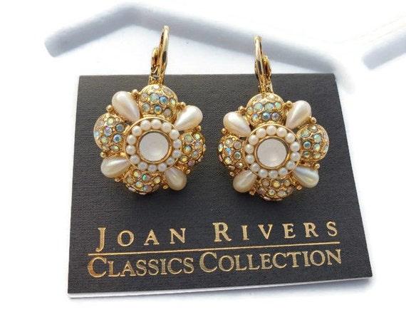 Pearl Crystal Drop Earrings Joan Rivers Earrings V