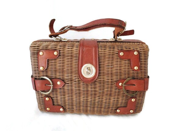 Wicker Purse Bag, Basket Purse, Wicker and Leather