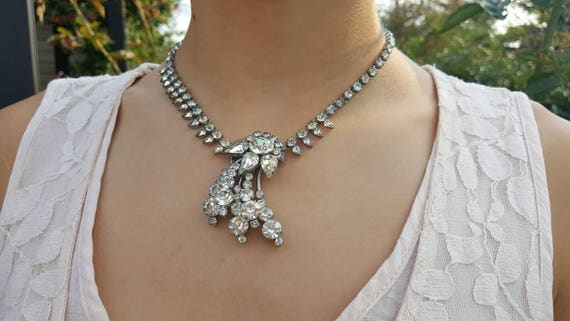 Rhinestone Necklace, Bridal Jewelry, Vintage, Brid