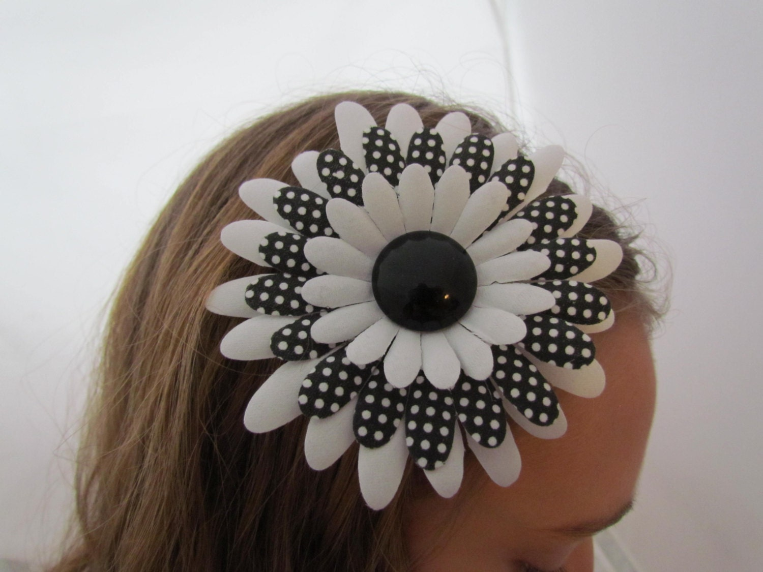 Large Flower Hair Clip Black And White Polka Dots Mod Hair