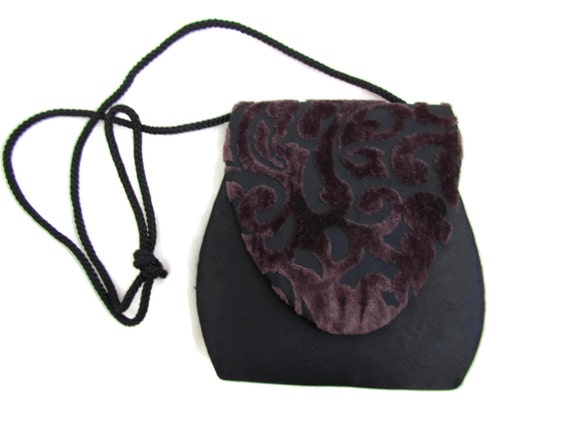 Evening Bag Purse 1980s Black Evening Bag Satin Da