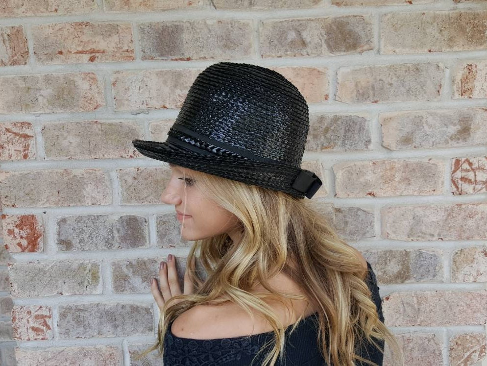 910ed80f19a22 Patent Leather Straw Fedora Hat Vintage