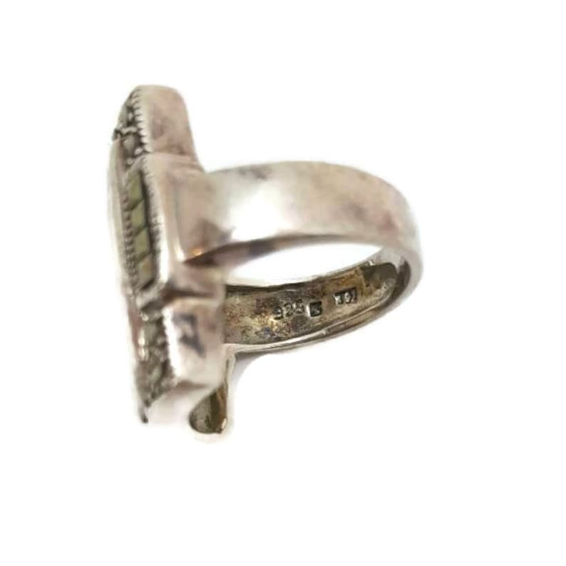 Sterling Marcasite Ring of Mother of Pearl Ring MOP Antique Ring Sterling Silver Size 6 Vintage Jewelry Gifts For Her Gi