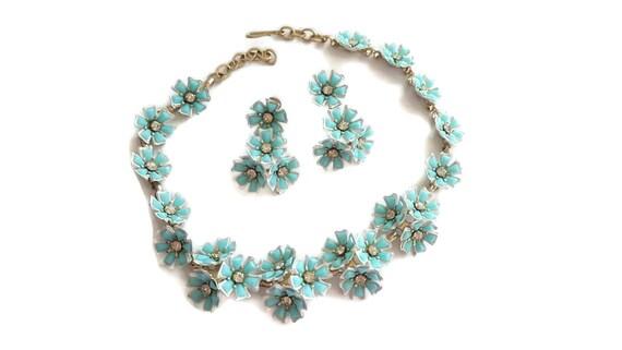Floral Choker Necklace, Blue, Necklaces, Choker Ne