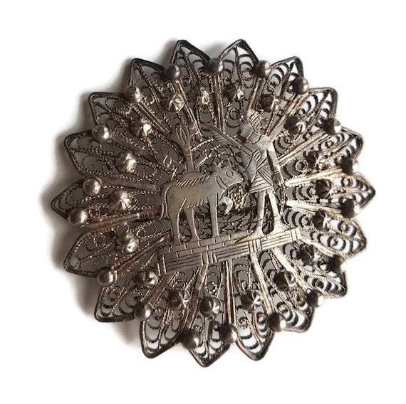 1920s Egyptian Filigree Brooch Silver Filigree Jew