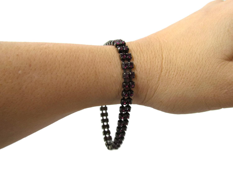 7d36af4a37c7e Purple Rhinestone Bracelet Large Wrist Bracelet or small Ankle ...