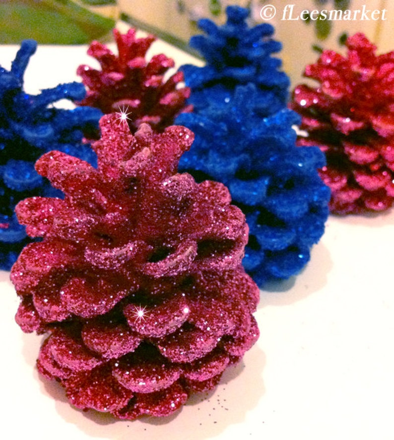 Glitter Pine Cones  Silver Gold Red Blue Pink White image 0
