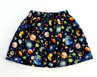 Planets Skirt, Outer Space, Space Skirt, Space Outfit, Planet Gift, Space Gift, Girls Skirt, Galaxy Skirt, Galaxy Party Skirt, Galaxy Outfit