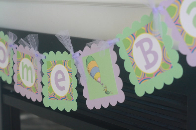 Cupcake Toppers Favor Tags /& Door Sign Available Happy Birthday Pink Purple Girly Oh The Places You/'ll Go Story Inspired Banner