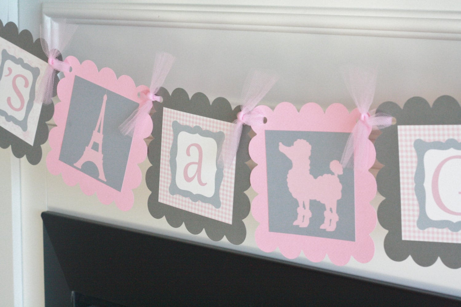 Baby Shower Pink & Gray Gingham French Toile Eiffel Tower