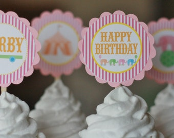 12 Pink, Hot Pink & Orange Circus Carnival Theme Birthday Cupcake Toppers - Ask About our Party Pack Sale
