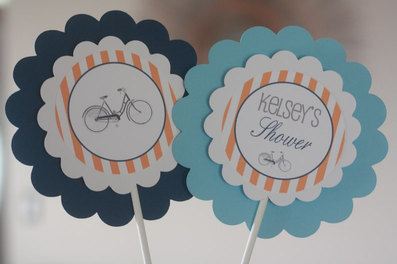 Other Colors Available Vintage Bicycle Bike Cycle Red /& Light Blue Stripe It/'s a Boy Baby Shower Banner Sign Decorations