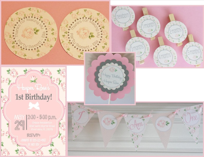 12 Pink White Grey Rose Shabby Chic Country Theme Birthday Cupcake or Cake Toppers Ask About Party Pack Deals
